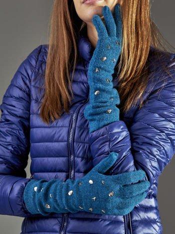 Długie rękawiczki z ćwiekami z domieszką wełny ciemnozielone