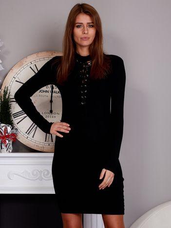 Dopasowana sukienka lace up czarna