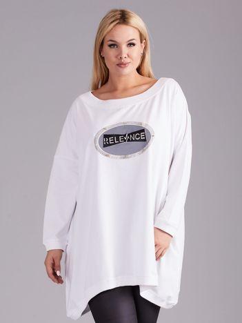 Dresowa biała tunika z aplikacją PLUS SIZE