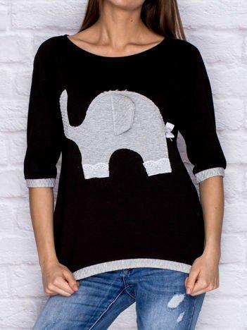 Dresowa bluzka z pikowanym słonikiem i koronką czarna