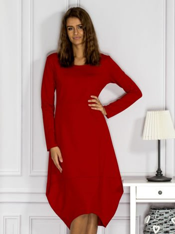 Dresowa sukienka z surowym wykończeniem czerwona
