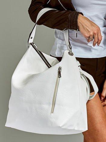 Duża torba skórzana shopper biała