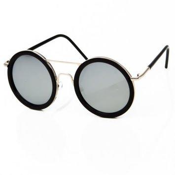 Duże okrągłe okulary SREBRNE LUSTRZANKI z czarnymi oprawkami