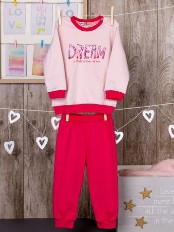Dwuczęściowa bawełniana ocieplana piżamka dziewczęca różowa