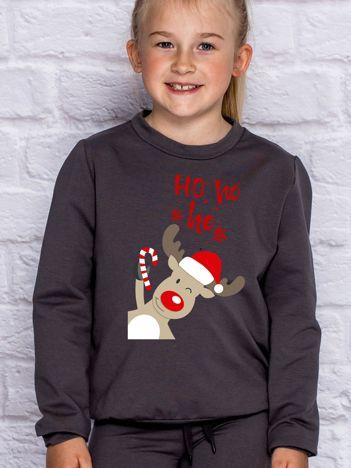 Dziecięca świąteczna bluza z reniferem i napisem HO HO HO ciemnoszara