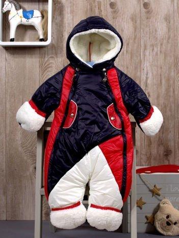 Dziecięcy kombinezon zimowy ocieplany futerkiem granatowy