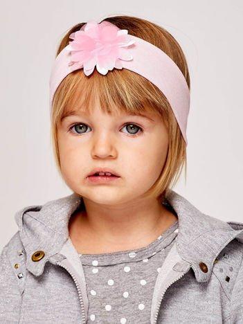 Dziewczęca opaska do włosów z tiulowym kwiatem jasnoróżowa