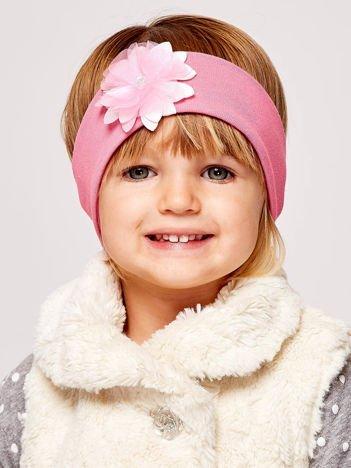 Dziewczęca opaska do włosów z tiulowym kwiatem różowa
