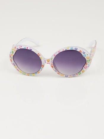 EMOJI Dziecięce przeciwsłoneczne okulary z filtrami EMOTICONS białe