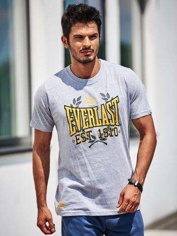 EVERLAST Jasnoszary t-shirt męski z nadrukiem