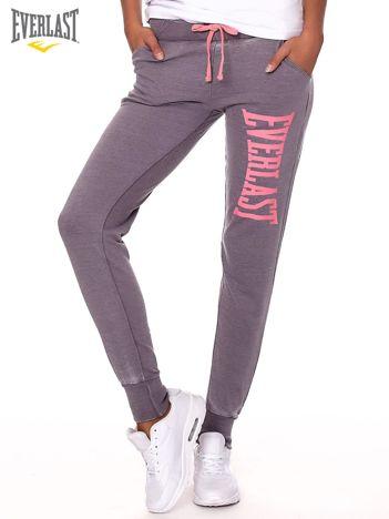 EVERLAST Szare spodnie dresowe rurki z różowym nadrukiem