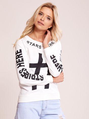 Ecru bawełniana bluza z nadrukiem hashtaga