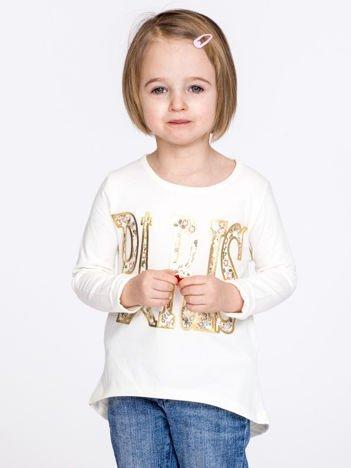 Ecru bawełniana bluzka dziewczęca z napisem PARIS