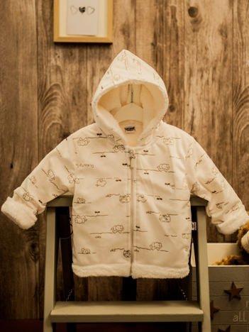 Ecru bluza niemowlęca bluza z kapturem w motyw zwierzątek