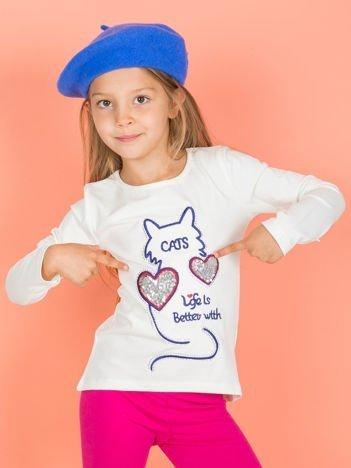 Ecru bluzka dla dziewczynki z kotem