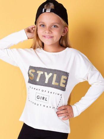 Ecru bluzka dla dziewczynki z napisem i aplikacją