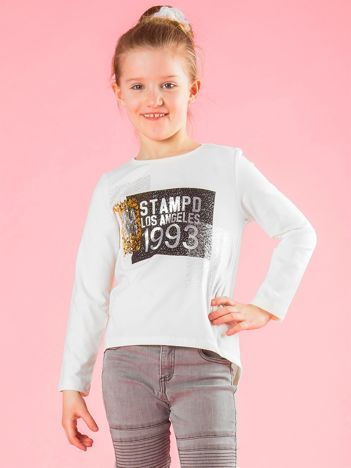 Ecru bluzka dziewczęca z nadrukiem i cekinami