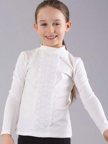 Ecru bluzka dziewczęca ze wstawką koronkową