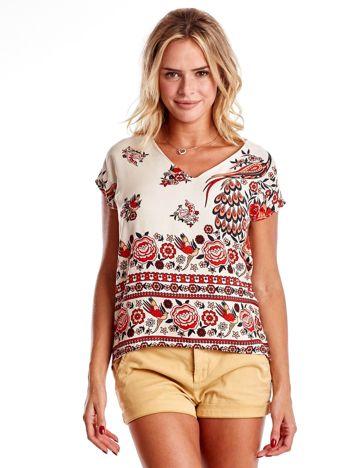 Ecru bluzka w etniczne desenie