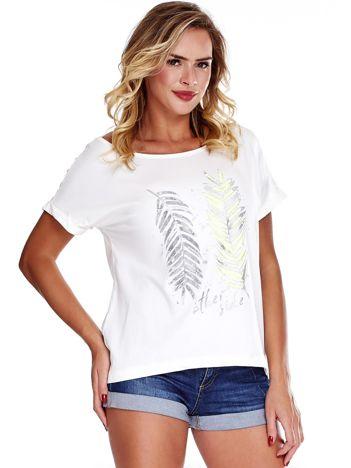 Ecru bluzka z motywem liści