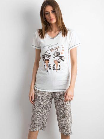 Ecru-brązowa piżama w panterkę