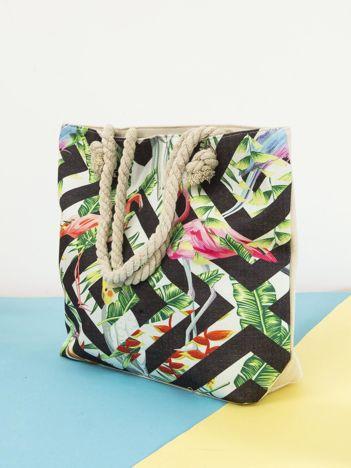 Ecru-czarna torba zakupowa w tropikalny nadruk