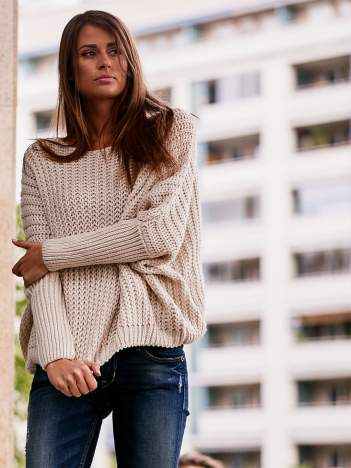Ecru dziergany sweter oversize FUNK N SOUL