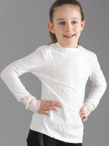 Ecru elegancka bluzka dziewczęca z koronkową wstawką