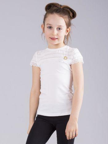 Ecru elegancka bluzka dziewczęca z krótkim rękawem