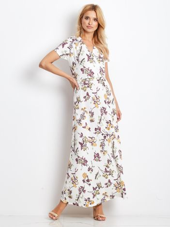 Ecru-fioletowa sukienka Vernissage