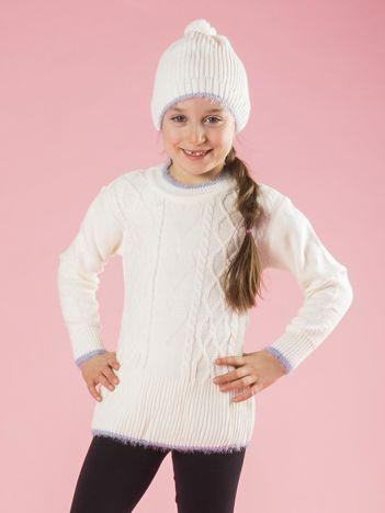 Ecru komplet zimowy dla dziewczynki