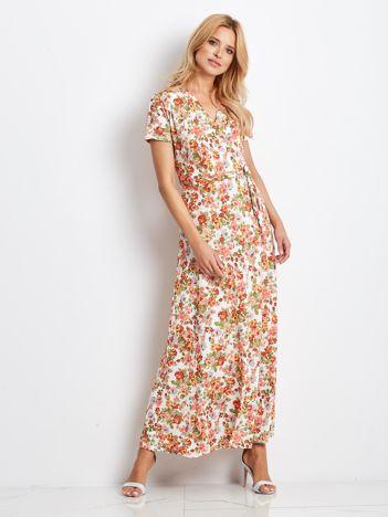 Ecru-koralowa sukienka Flowered