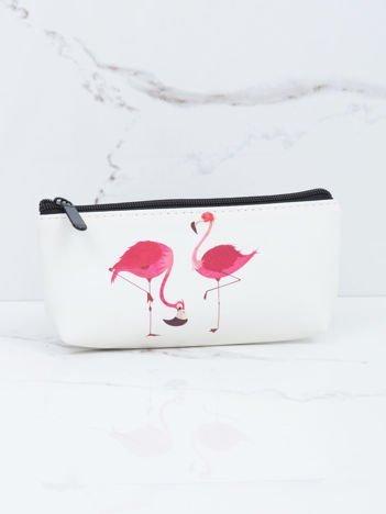 Ecru kosmetyczka z flamingami