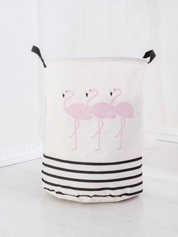 Ecru kosz na pranie z printem