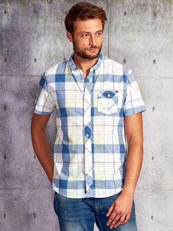 Ecru koszula męska w kolorową kratę FUNK N SOUL