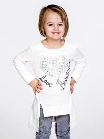 Ecru melanżowa bluzka dziewczęca z sercem z dżetów