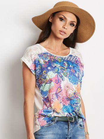 Ecru-niebieski t-shirt Traditionally