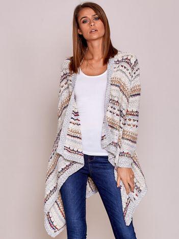 Ecru niezapinany sweter z kolorową nicią