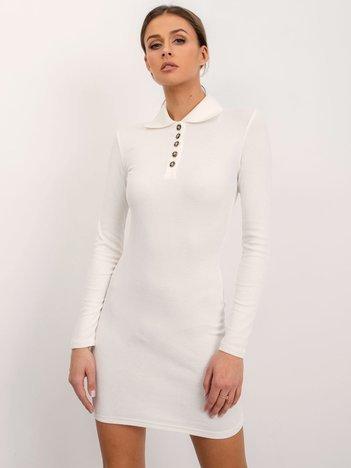 Ecru prążkowana sukienka BSL