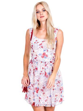 Ecru rozkloszowana sukienka w kwiaty