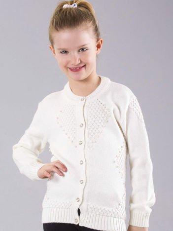 Ecru rozpinany sweter dla dziewczynki z perełkami