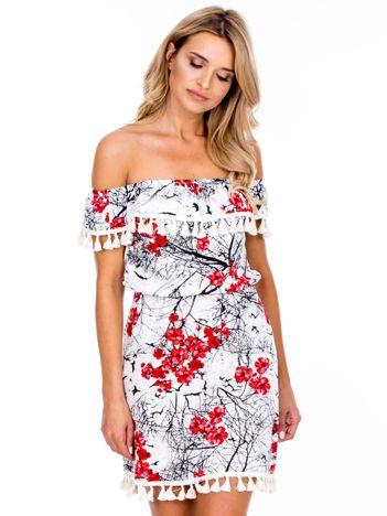 Ecru sukienka hiszpanka w kolorowe kwiaty