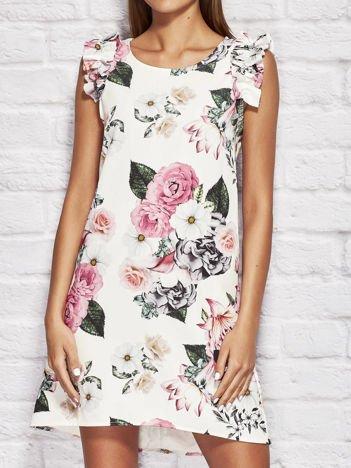 Ecru sukienka koktajlowa w kwiaty z falbankami