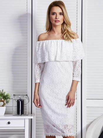 Ecru sukienka z hiszpańskim dekoltem