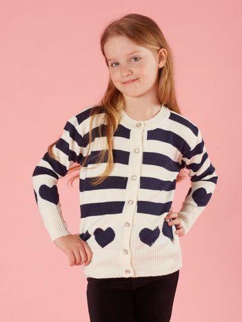 Ecru sweter dla dziewczynki w paski