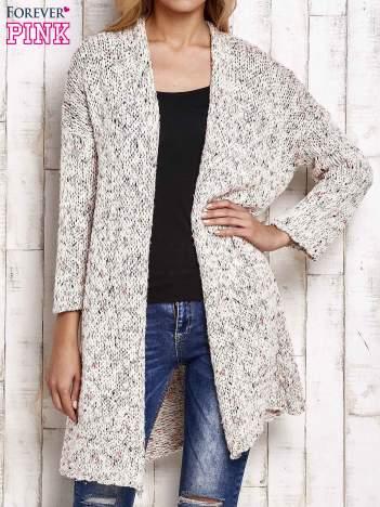 Ecru sweter z kolorową nitką