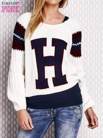 Ecru sweter z literą H