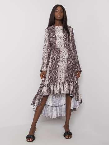 Ecru-szara sukienka z falbaną Murielle RUE PARIS