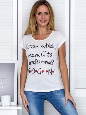 Ecru t-shirt JESTEM KOBIETĄ
