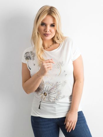 Ecru t-shirt damski z nadrukiem PLUS SIZE